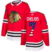 Adidas Chris Chelios Chicago Blackhawks Youth Authentic USA Flag Fashion Jersey - Red