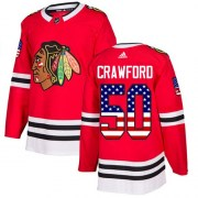 Adidas Corey Crawford Chicago Blackhawks Men's Authentic USA Flag Fashion Jersey - Red